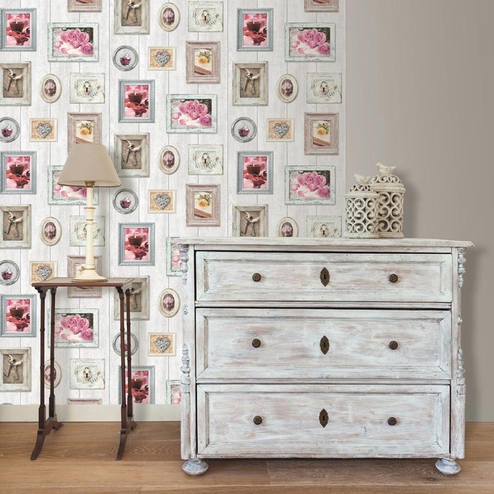 Muriva Wood Beam Picture Frame Pattern Wallpaper Heart