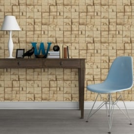 Muriva Wood Block Pattern Realistic Faux Effect Vinyl Wallpaper J84407