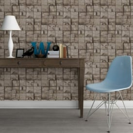 Muriva Wood Block Pattern Realistic Faux Effect Vinyl Wallpaper J84408