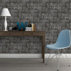 Muriva Wood Block Pattern Realistic Faux Effect Vinyl Wallpaper J84409