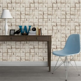 Muriva Wood Block Pattern Realistic Faux Effect Vinyl Wallpaper J84417