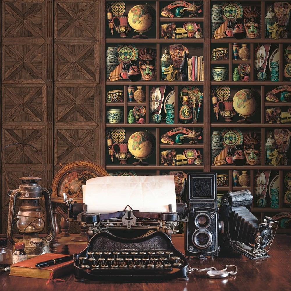 Muriva Wood Book Shelf Pattern Wallpaper Inca Aztec Tribal Motif Vinyl L14408