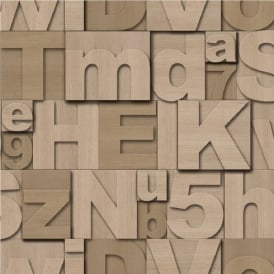 Muriva Wood Letters Typography Wallpaper J43607