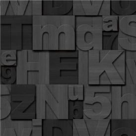 Muriva Wood Letters Typography Wallpaper J43619