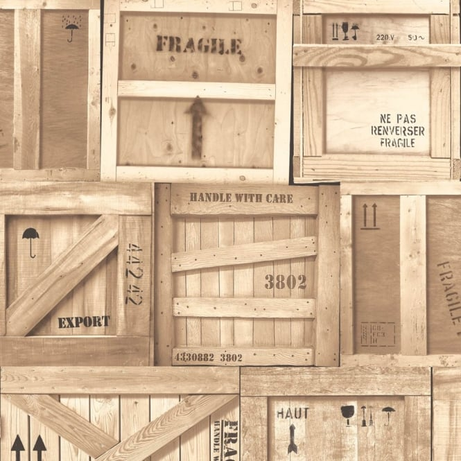 Muriva Wooden Crates Pattern Factory Box Motif Realistic Mural Wallpaper J89907