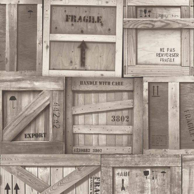 Muriva Wooden Crates Pattern Factory Box Motif Realistic Mural Wallpaper J89908
