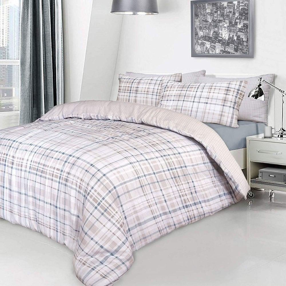 Natural Check Tartan Duvet Set Quilt Cover Pillowcase Reversible