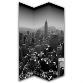 New York Black & White Canvas Dressing Privacy Screen Folding 3 Panel Room Divider HW6260