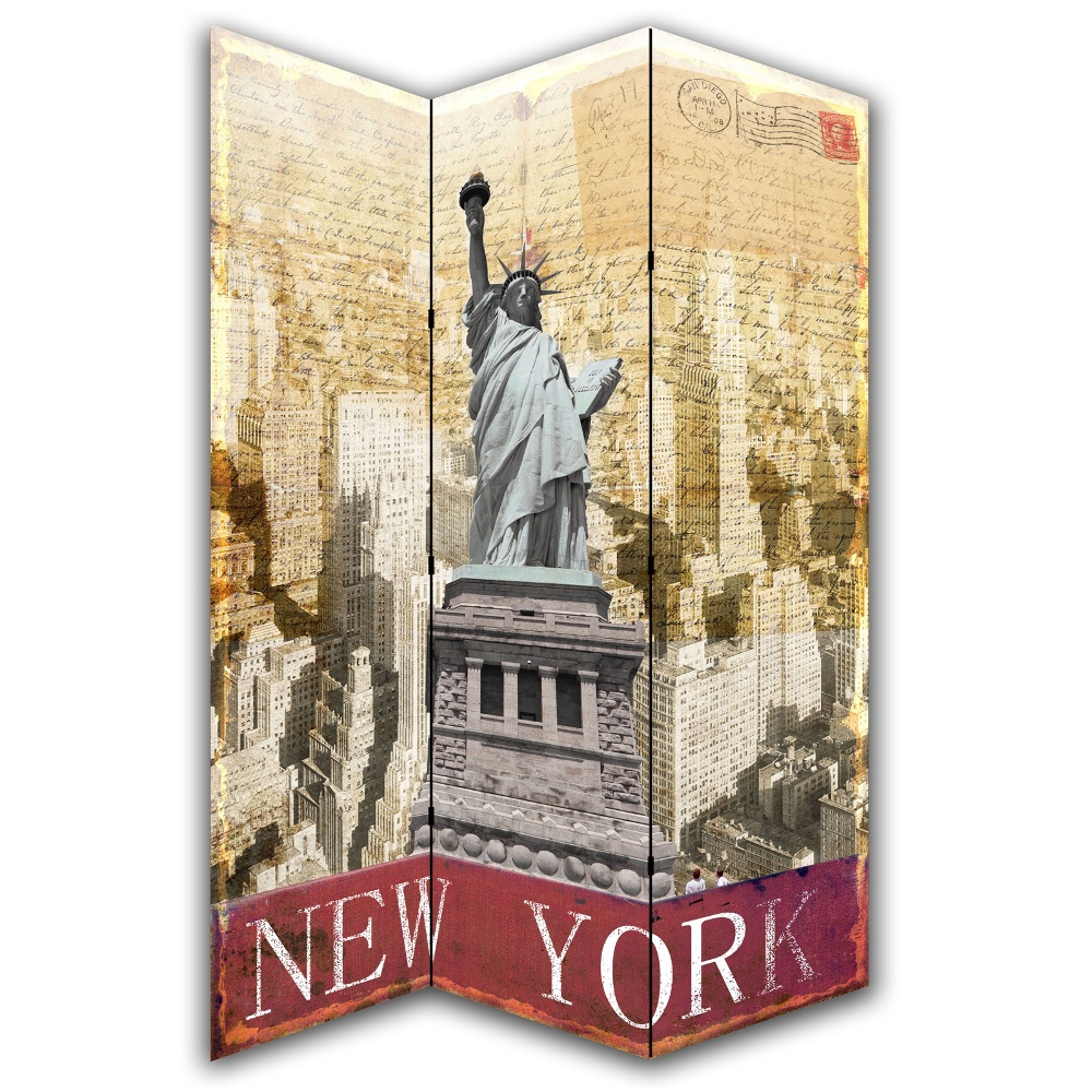 new york postcard canvas dressing privacy screen folding room divider. Black Bedroom Furniture Sets. Home Design Ideas
