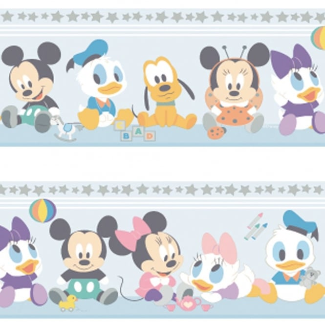 Disney Official Baby Mickey Minnie Mouse Childrens Nursery Wallpaper Border MK3500-1