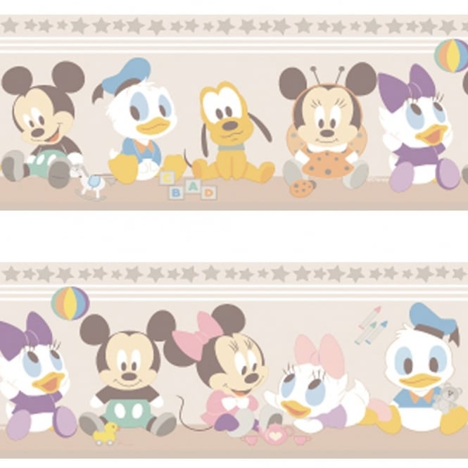 Disney Official Baby Mickey Minnie Mouse Childrens Nursery Wallpaper Border MK3500-3