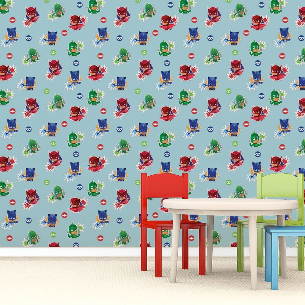 Official PJ Masks Childrens Wallpaper Catboy Owlette Gekko Cartoon Kids Disney