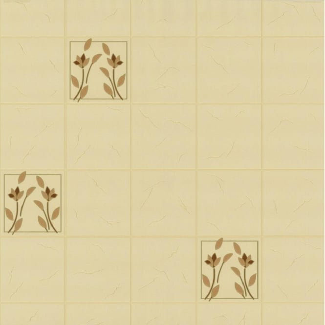 P&S International P+S Home Sweet Home Floral Tile Effect Kitchen Bathroom Wallpaper 45009-20