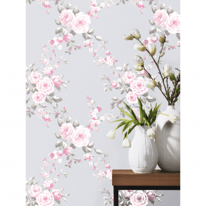 Catherine Lansfield Canterbury Floral Trail Diamond Flower Pattern Paper Wallpaper