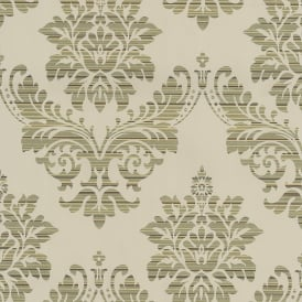 P&S International Catherine Lansfield Damask Pattern Wallpaper Metallic Motif 13373-34