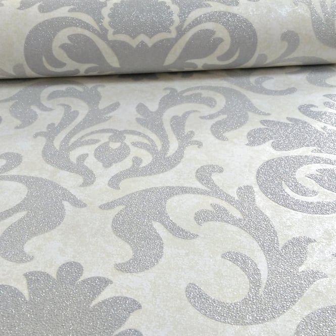 P&S International Damask Pattern Metallic Marble Glitter Motif Wallpaper 13343-30