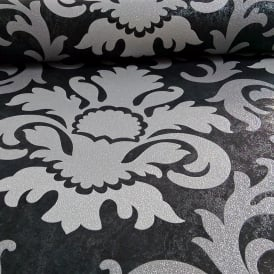 P&S International Damask Pattern Metallic Marble Glitter Motif Wallpaper 13343-40