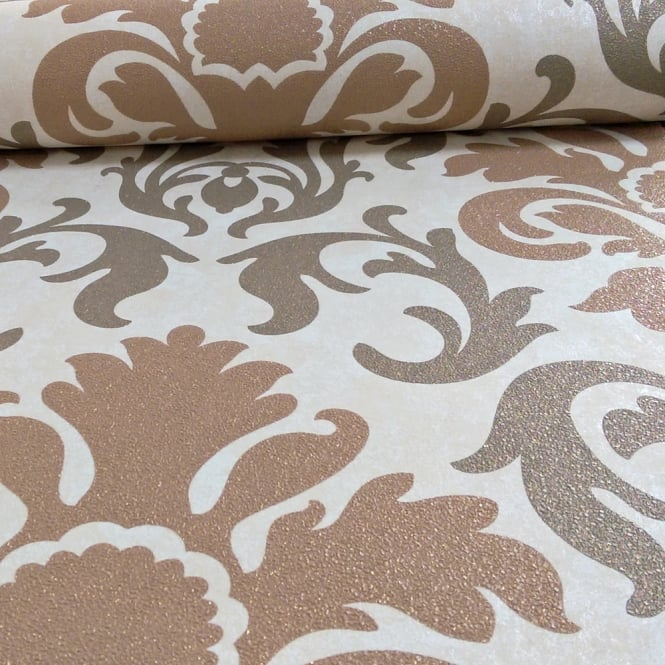 P&S International Damask Pattern Metallic Marble Glitter Motif Wallpaper 13343-50