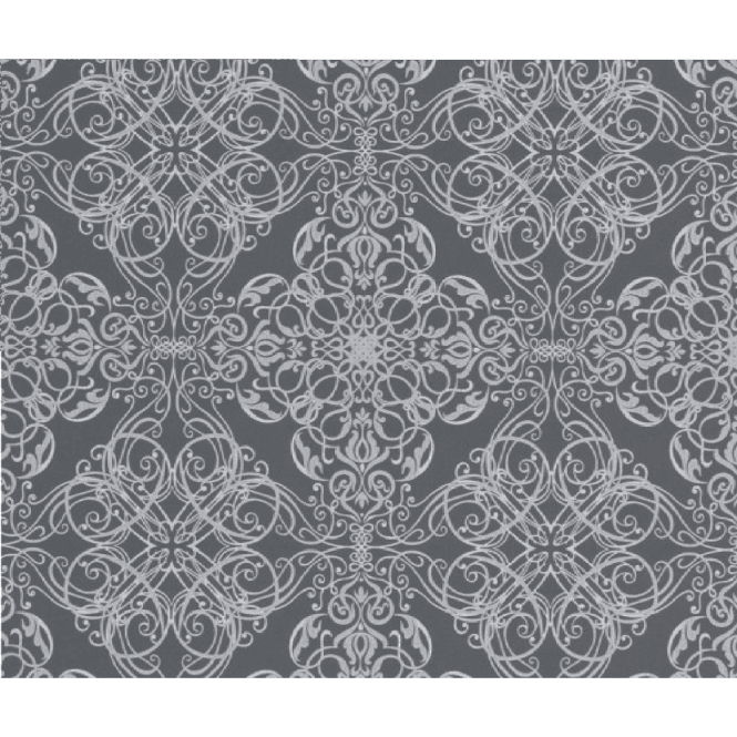 P&S International Decorative Textured Metallic Silver Damask Flower Pattern Wallpaper 02511-70