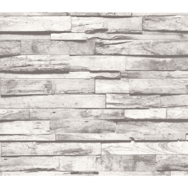 Grey Wooden Beam Pattern Realistic Vintage Striped Cottage Wallpaper 02472-40