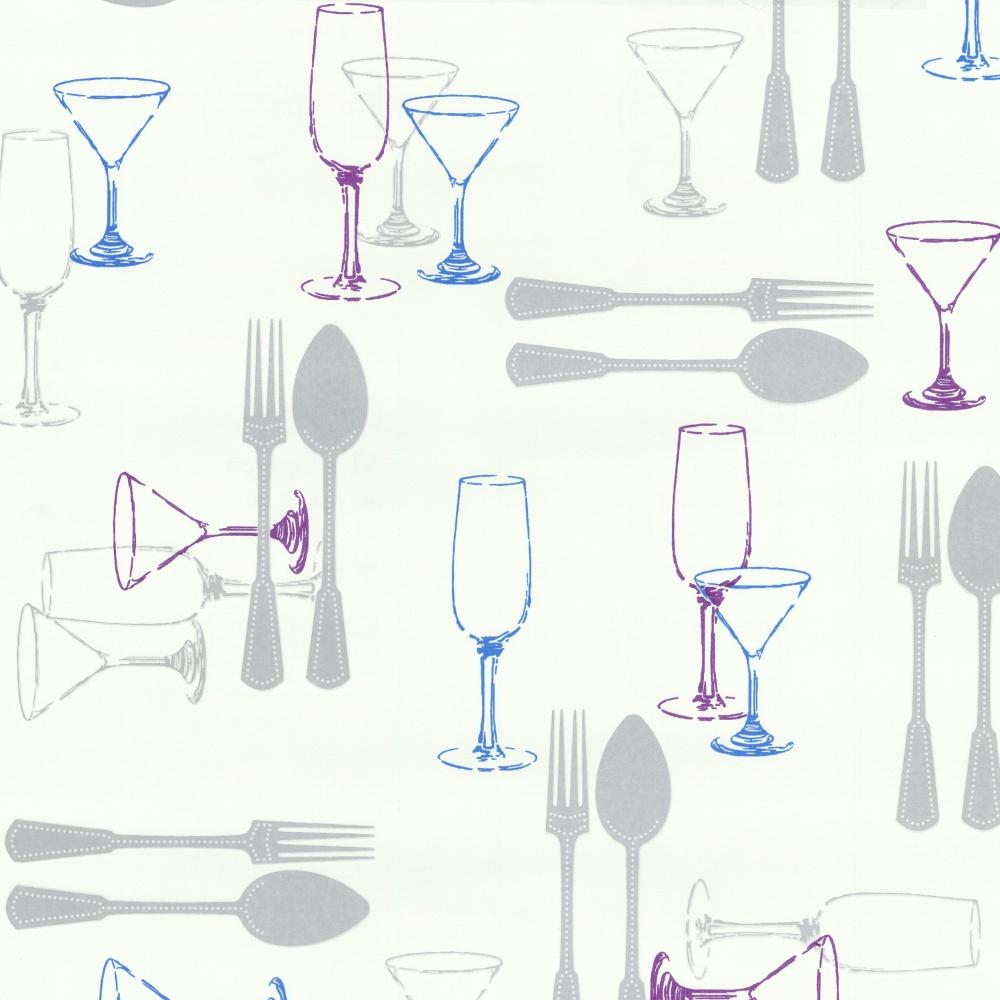 P s international home cutlery washable kitchen wallpaper - Carta da parati cucina ...