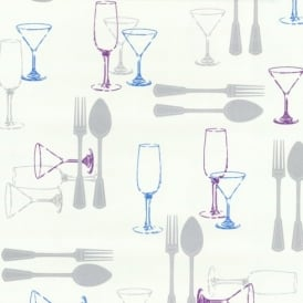 P+S International Home Sweet Home Cutlery Wine Luxury Washable Kitchen Wallpaper 03836-20