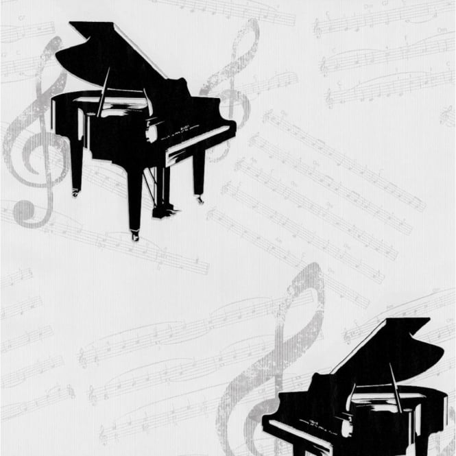 P&S International P+S Dieter Bohlen Grand Piano Music Notes Textured Wallpaper 13153-10