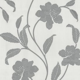 P&S Flower Pattern Floral Leaf Motif Glitter Textured Vinyl Wallpaper 18153-10