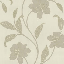 P&S Flower Pattern Floral Leaf Motif Glitter Textured Vinyl Wallpaper 18153-40