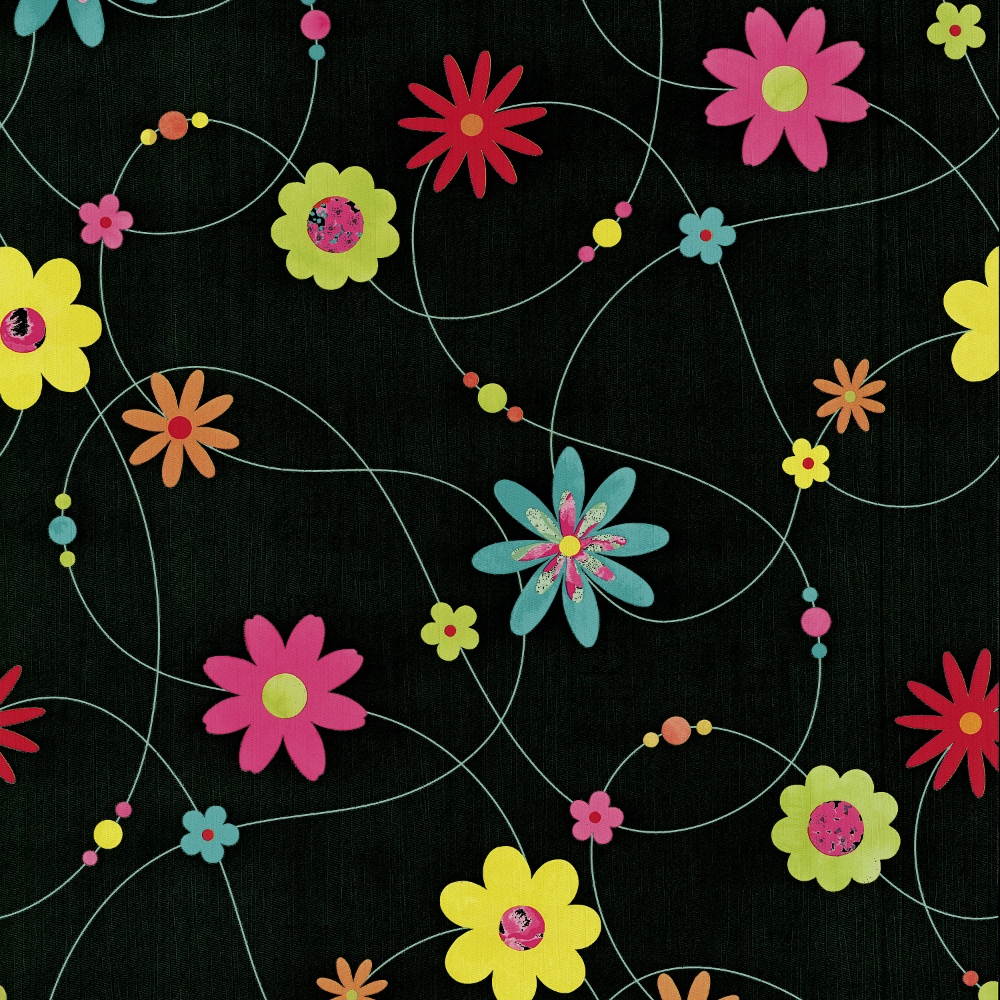 P s flower pattern floral motif textured striped washable wallpaper 05563 10 black yellow pink - Washable wallpaper ...