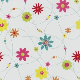 P&S Flower Pattern Floral Motif Textured Striped Washable Wallpaper 05563-20