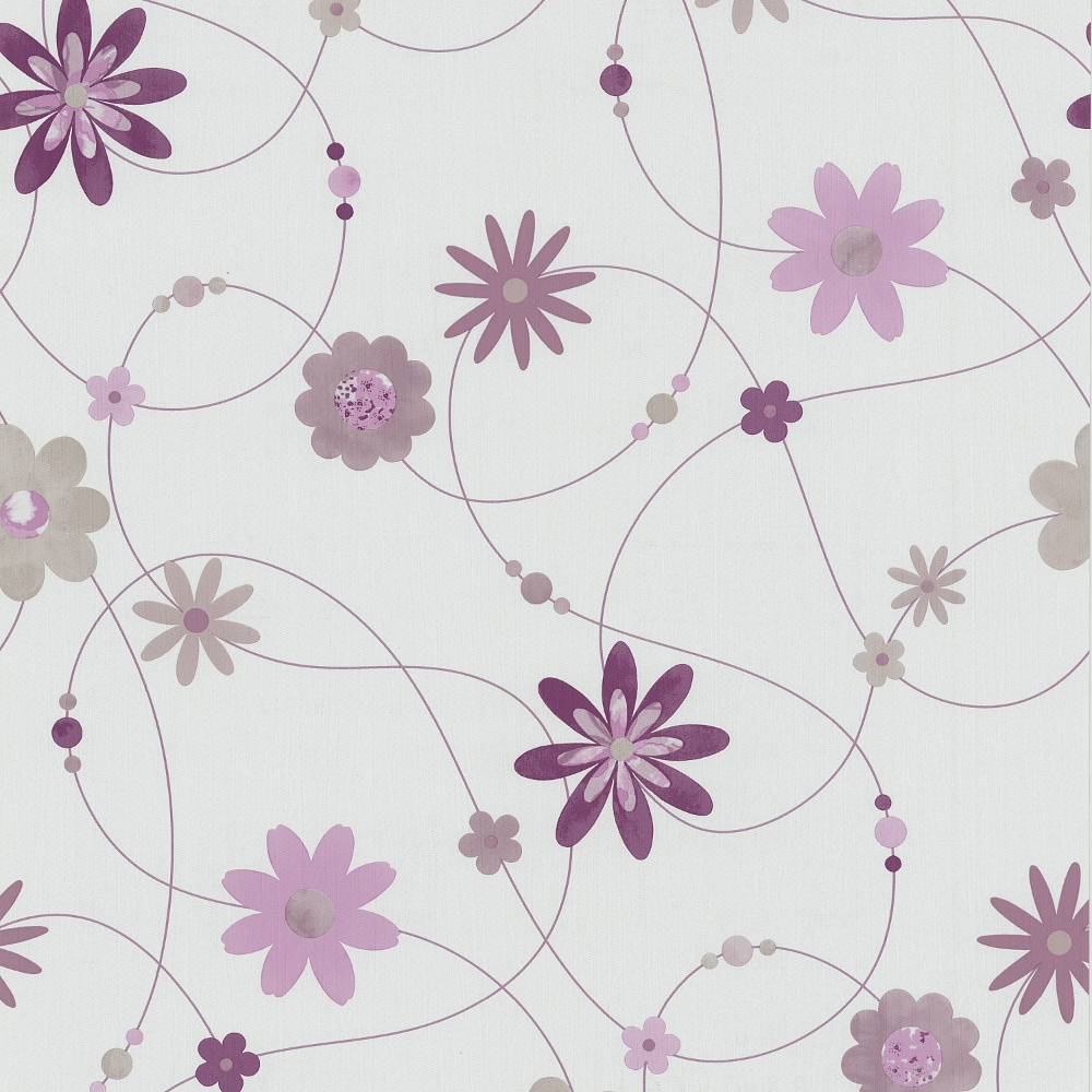PampS Flower Pattern Floral Motif Textured Striped Washable Wallpaper