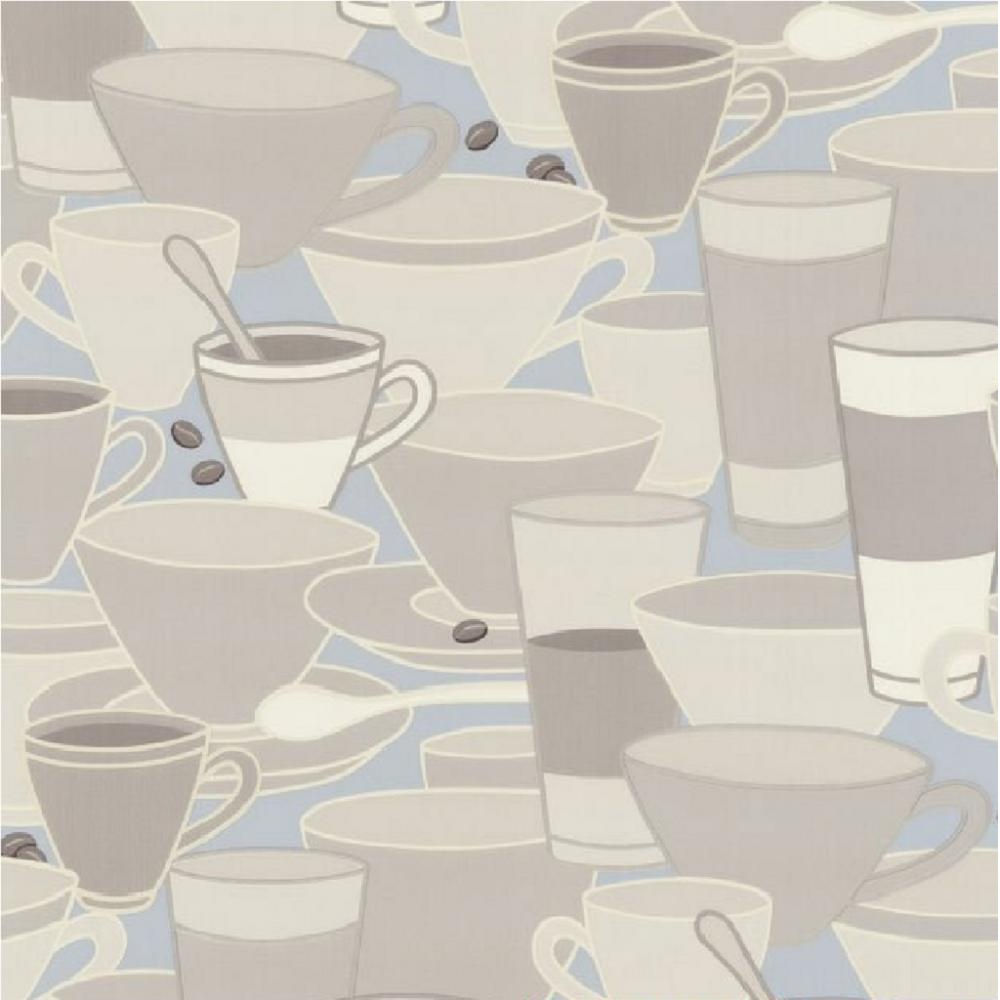 P s home sweet home coffee cups saucers tea cafe kitchen for Blue kitchen wallpaper
