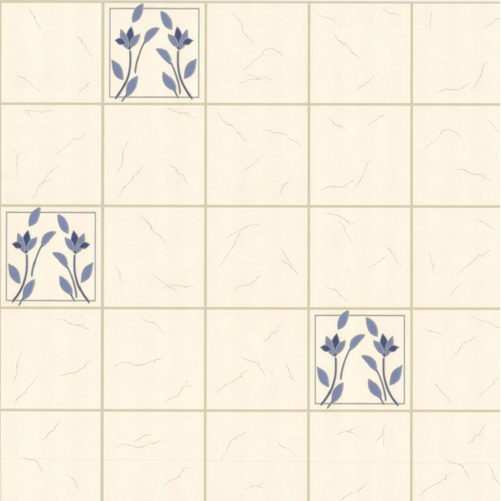 Tile Effect Kitchen Wallpaper: P&S Home Sweet Home Floral Tile Kitchen Bathroom Wallpaper