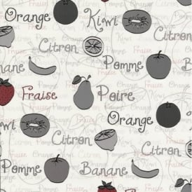 P+S Home Sweet Home Fruit Food Motif Lettering Kitchen Wallpaper 45035-20 Black Friday