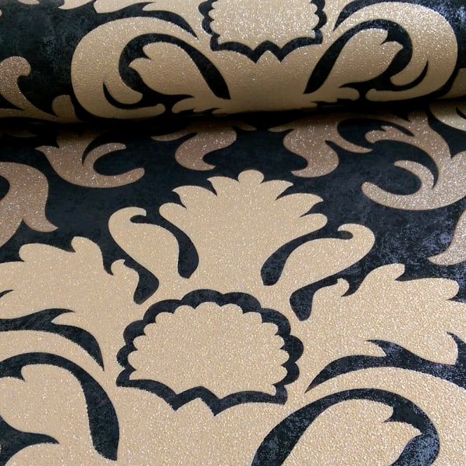 P&S International Damask Pattern Metallic Marble Glitter Motif Wallpaper 13343-90