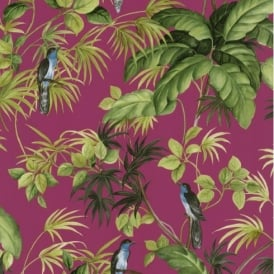 P+S International Tropical Exotic Birds Trees Leaves Wallpaper 05550-30