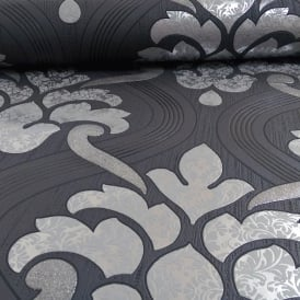 P&S Memphis Damask Pattern Floral Motif Embossed Glitter Vinyl Wallpaper 13306-50