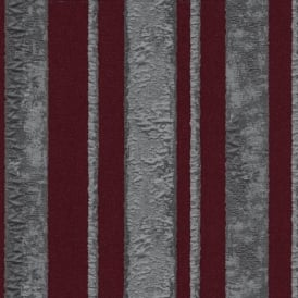 P&S Opulent Striped Motif Burgundy Red Metallic Silver Glitter Wallpaper 02424-30