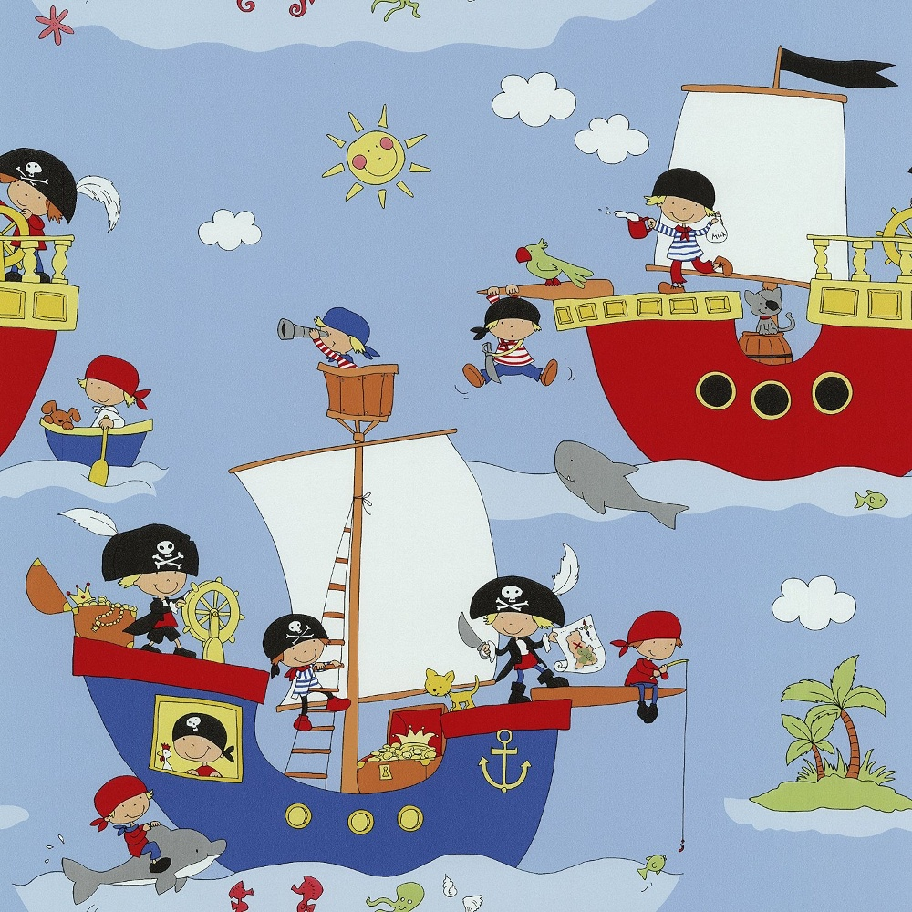 Kids Wallpaper: P&S Pirate Ship Pattern Dolphin Shark Washable Vinyl