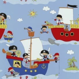 P&S Pirate Ship Pattern Dolphin Shark Washable Vinyl Childrens Kids Wallpaper 05490-10