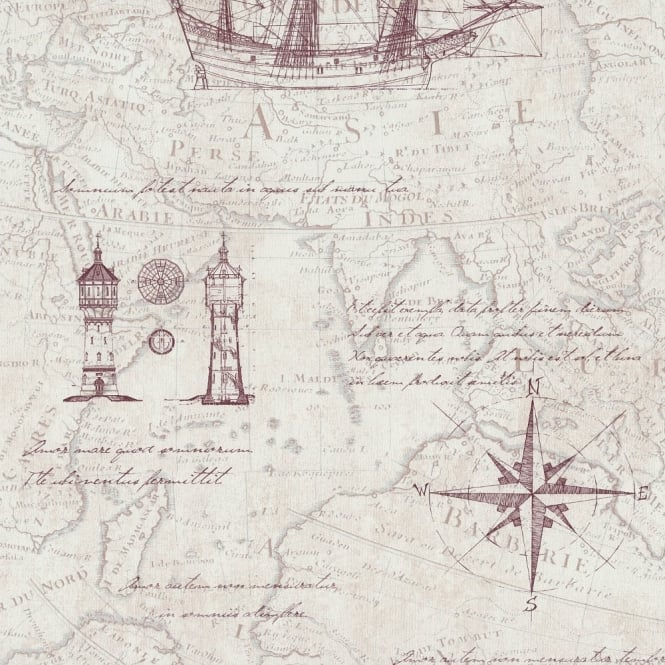 P&S International P&S Vintage Atlas Map Pattern Old Nautical Non Woven Textured Wallpaper 42110-10