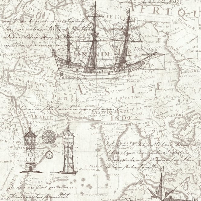 P&S International P&S Vintage Atlas Map Pattern Old Nautical Non Woven Textured Wallpaper 42110-30