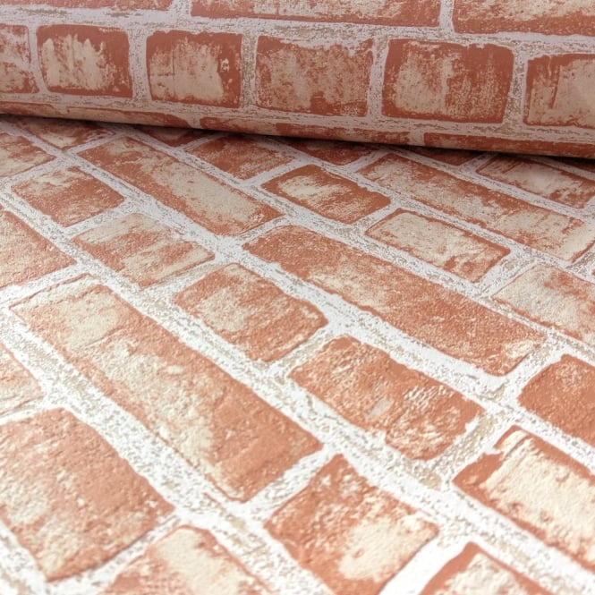 P&S International Red Brick Effect Pattern Wallpaper Rustic Stone Wall 13474-20
