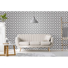 P & S International Retro Tile Effect Geometric Shape Glitter Motif Blown Vinyl Wallpaper