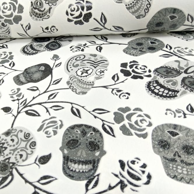 P&S International Skulls Rose Pattern Wallpaper Glitter Motif Metallic 13383-20