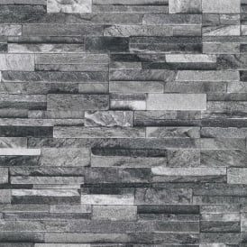 P&S International Slate Brick Pattern Faux Stone Effect Textured Wallpaper 42106-20