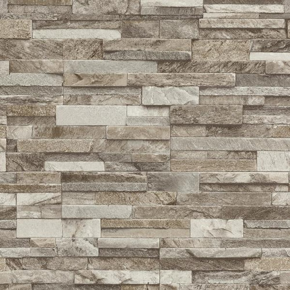 PS Slate Brick Pattern Faux Stone Effect Wallpaper 4210630