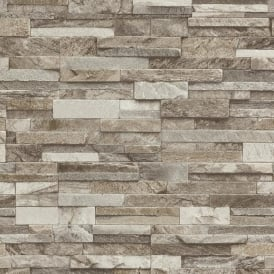 P&S International Slate Brick Pattern Faux Stone Effect Textured Wallpaper 42106-30