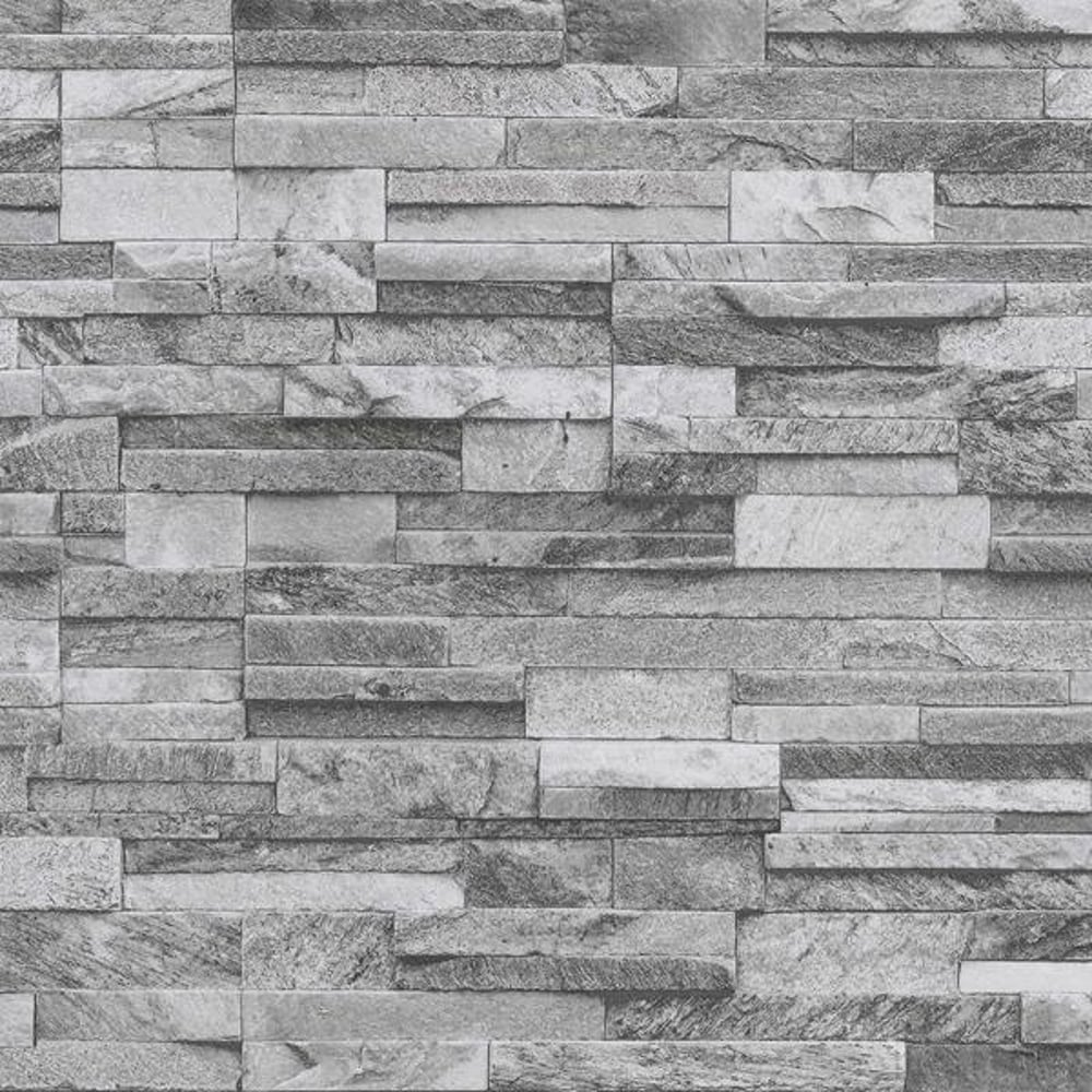 PampS International Slate Brick Pattern Faux Stone Effect Textured Wallpaper